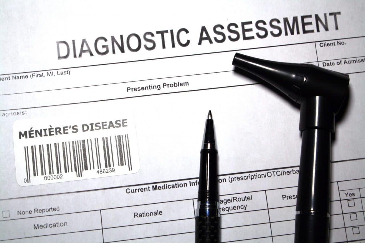 Close-up of a Diagnostic Assessment form featuring Ménière's disease.